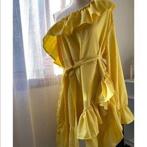 NWT BooHoo Yellow Ruffle Dress